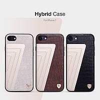 """Кожаная накладка Nillkin Hybrid Series для Apple iPhone 7 (4.7"""") (Слоновая кость / Золотой)"""
