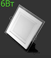 Светодиодная панель 6Вт 4500K квадрат, LM1033 стекло Монтана