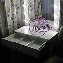 Стол макияжый с разделенным на секции ящиком, гримерный стол с зеркалом, фото 2