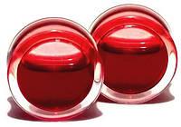 Тоннель в ухо с красной жидкостью, 1 пара, 15 мм, фото 1