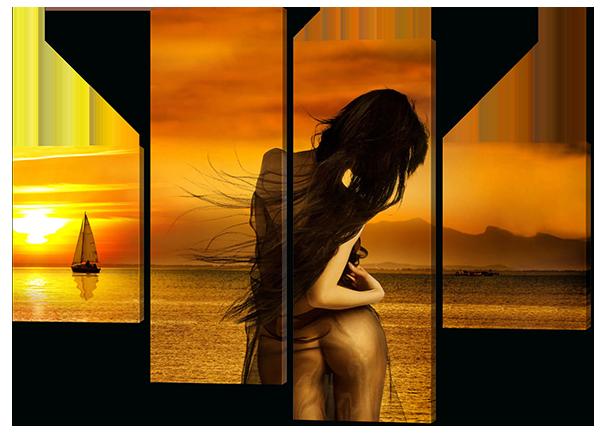 Модульная картина Девушка и закат на море