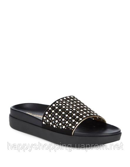 Женские черные замшевые летние стильные шлепанцы  Karl Lagerfeld