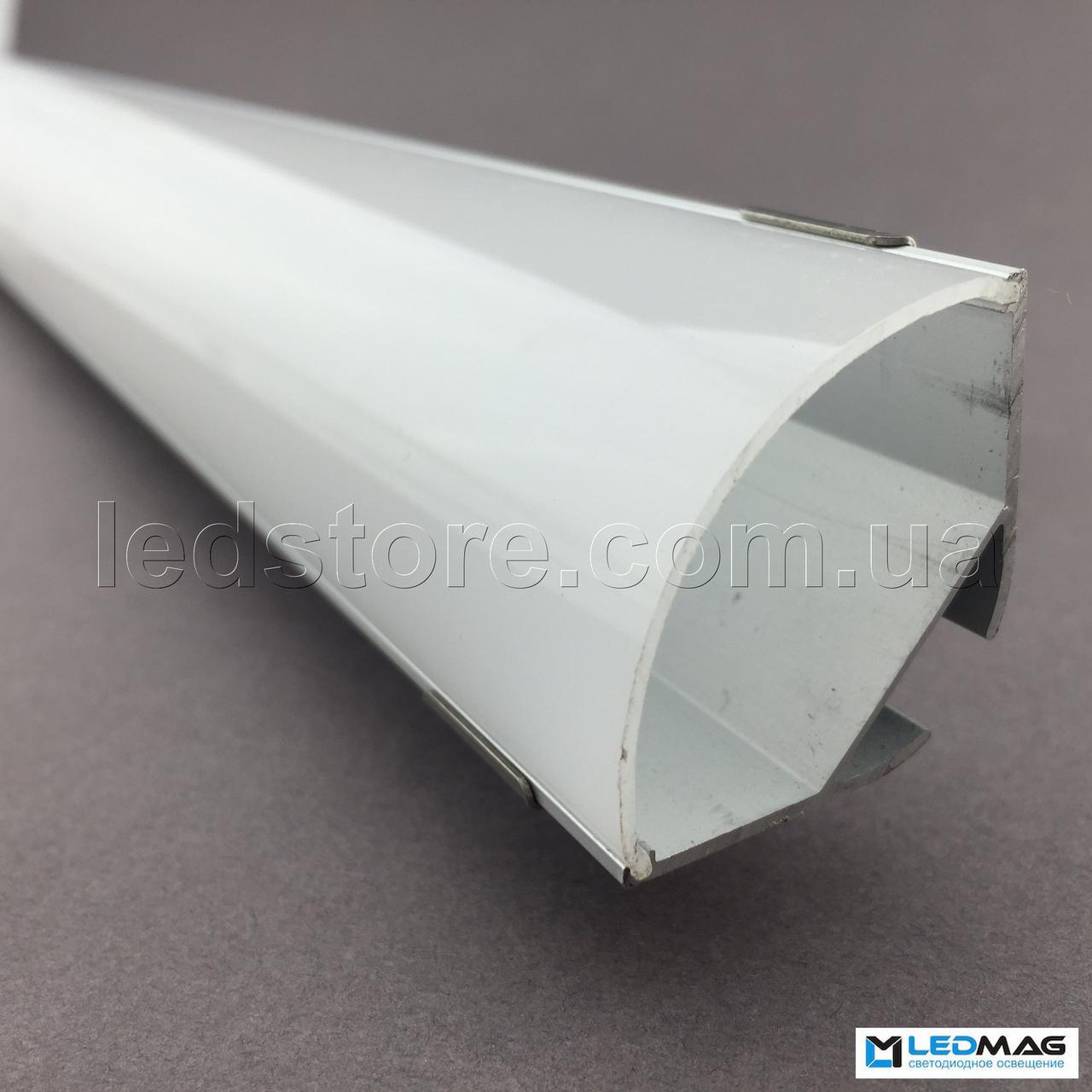 LED профиль + крышка  для светодиодной ленты угловой 30х30 мм
