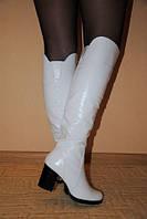 """Ботфорты """"519"""" белые на каблуке натуральная кожа и мех код 215"""