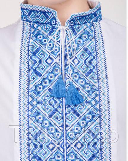 Мальчуковая вышиванка с длиным рукавом, синяя вышивка