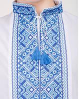 Мальчуковая вышиванка с длиным рукавом, синяя вышивка, фото 1