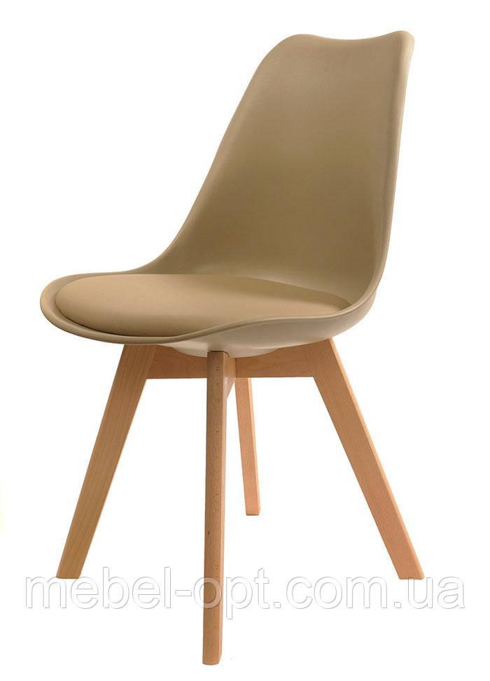 Стул Milan Eames Style, бежевое пластиковое сиденье с мягкой подушкой на буковых ножках