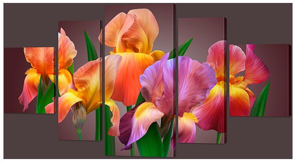 """Модульная картина """"Разноцветные цветы"""""""