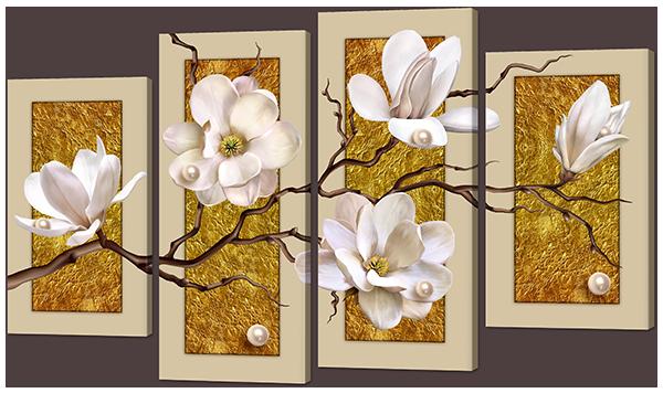 Модульная картина Орхидеи на золотом фоне