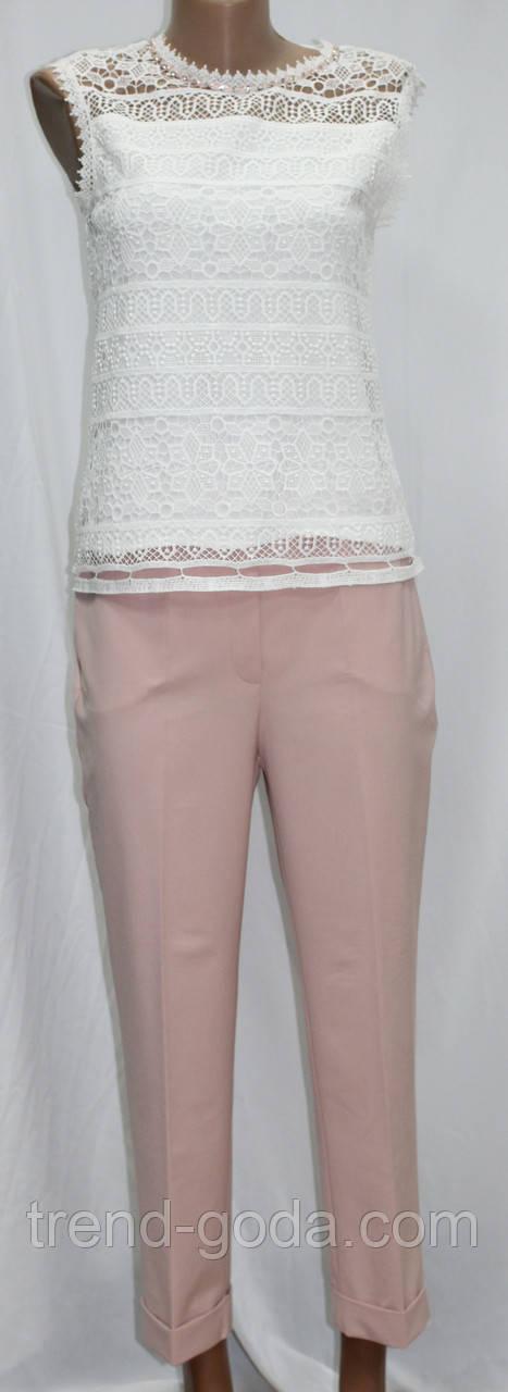 Костюм женский, белая блуза и розовые брюки, Турция
