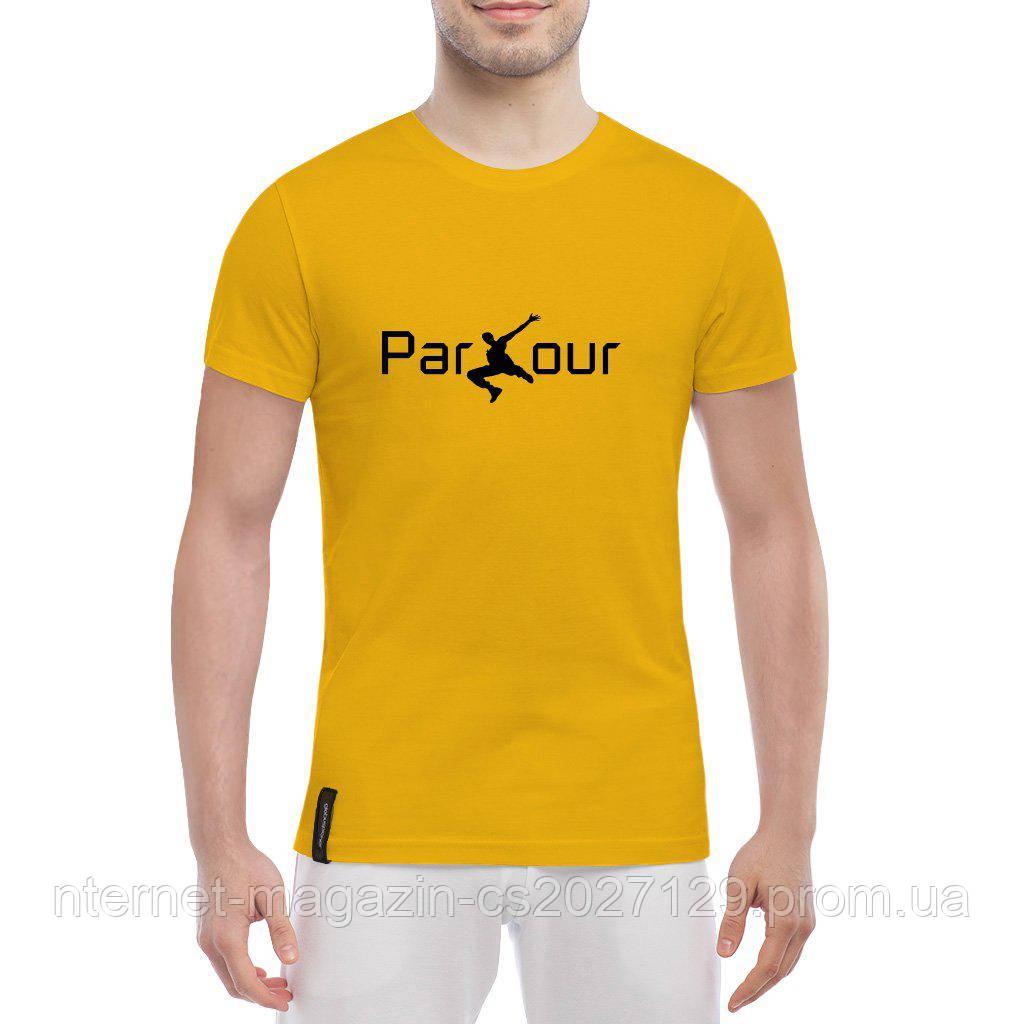 Мужская хлопковая футболка для паркурщиков надпись Parkour