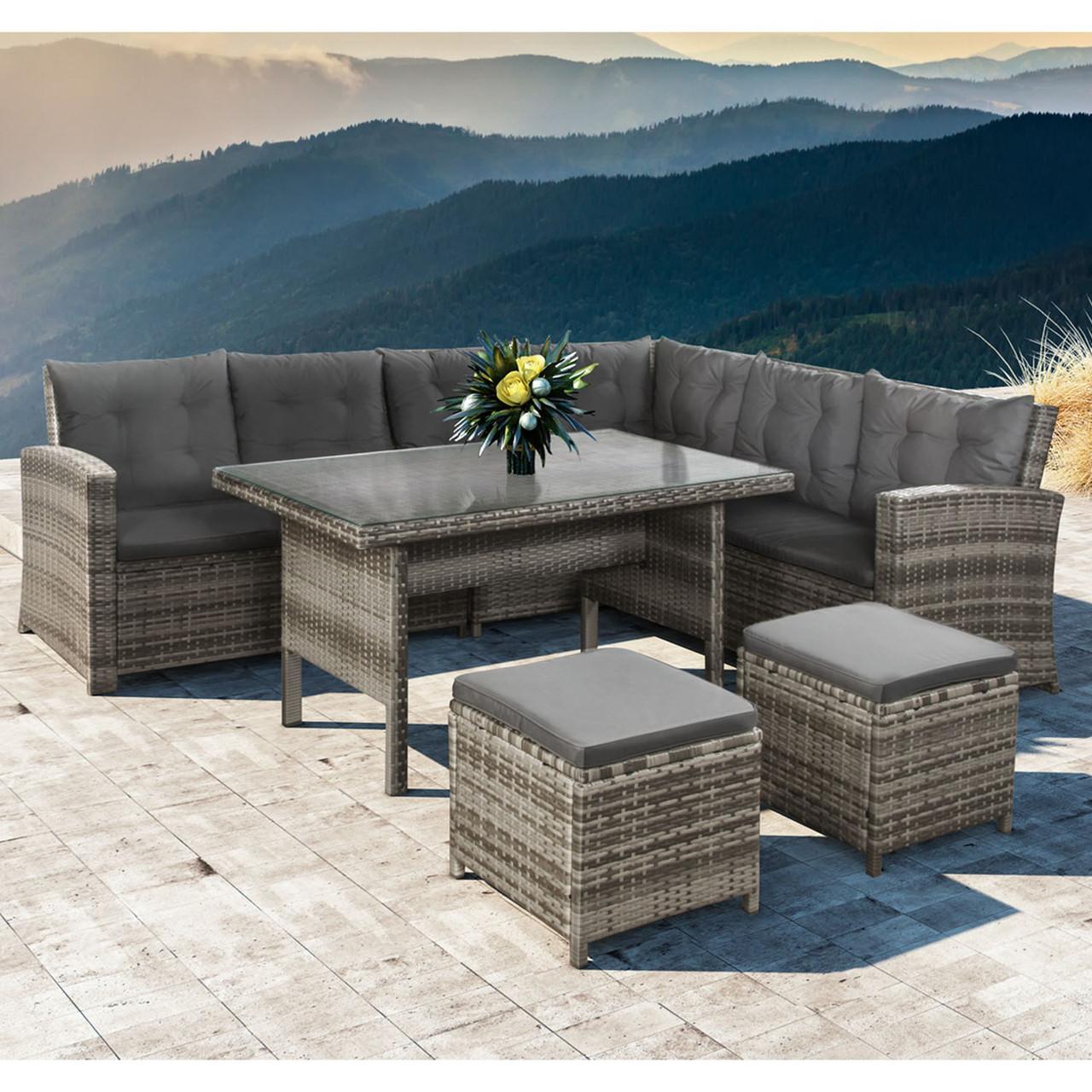 Садовой набор мебели со столом из ротанга