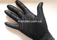 Черные нитриловые перчатки (пл. 6г/м2) Медиком SafeTouch Advanced Black(100 шт), фото 2