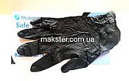 Черные нитриловые перчатки (пл. 6г/м2) Медиком SafeTouch Advanced Black(100 шт), фото 3