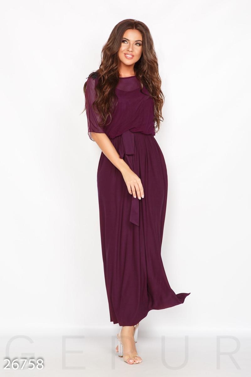 Красивое платье макси полуприталенное с поясом короткий рукав сливовое