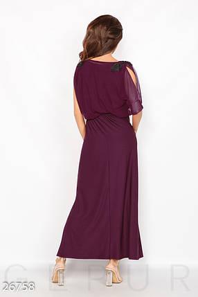 Красивое платье макси полуприталенное с поясом короткий рукав сливовое, фото 2
