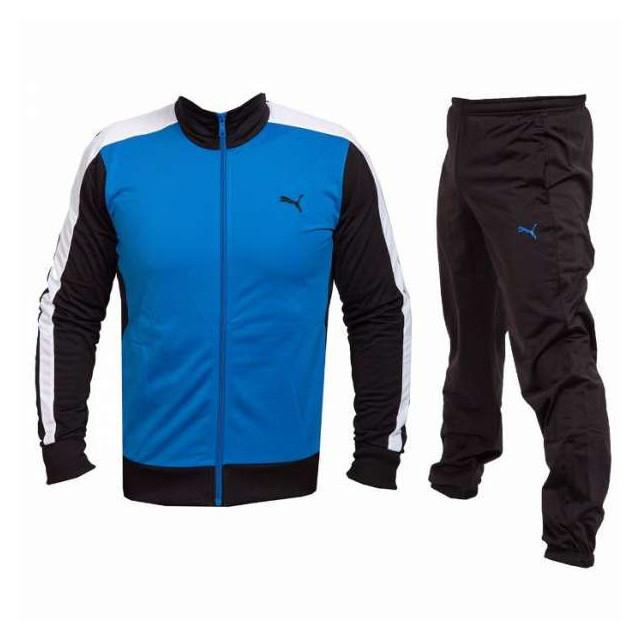 Костюм спортивный мужской puma Ess poly 831893 08 (синий, эластик, черные брюки, для тренировок, надпись пума)