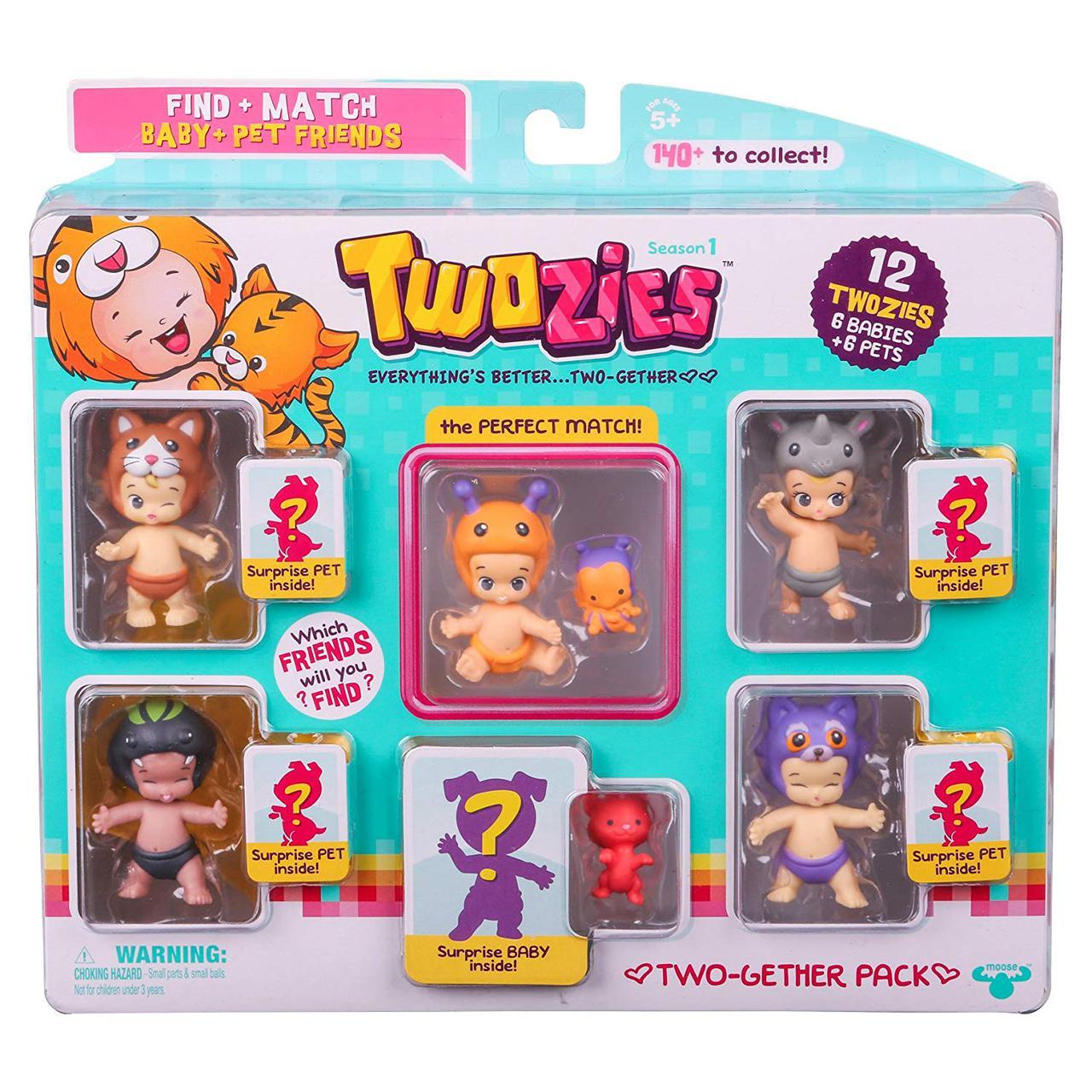 Тузис игровой набор 12 фигурок: 6 малышей + 6 питомцев Twozies