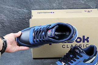 Мужские кроссовки Синие с черным Эко Замша ,Прессованная кожа 15\3027, фото 2
