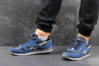 Мужские кроссовки Синие с черным Эко Замша ,Прессованная кожа 15\3027, фото 3