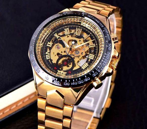 Механические часы с автоподзаводом Winner (golden) - гарантия 12 месяцев