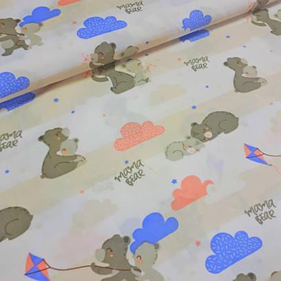 Бязь польская мишки серые с голубыми воздушными змеями