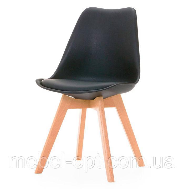 Стул Тор Eames DSW скандинавский стиль, черное пластиковое сиденье с мягкой подушкой