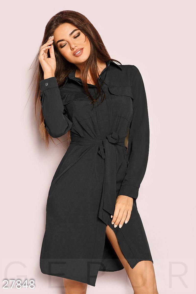 Однотонное платье-рубашка черного цвета