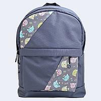 Сірий рюкзак с котами mini