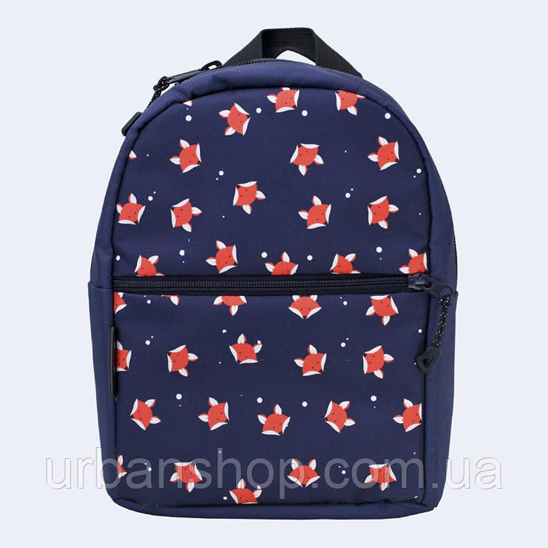 Детский синий рюкзак с лисичками
