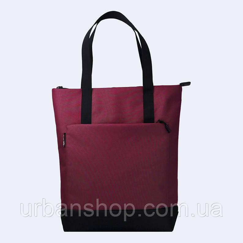 Бордовая  сумка шоппер