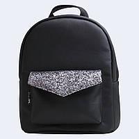 Чорний шкіраный рюкзак black silver