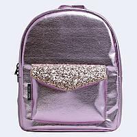 Розовый  шкіраный рюкзак brilliant