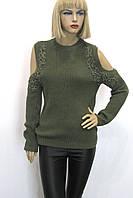 светр кофта реглан з  відкритими плечами і мереживом