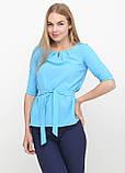 """Блузка женская с поясом однотонная голубая """"Ирма"""" , фото 5"""