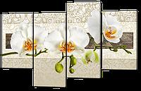 Модульная картина Орхидеи в светлых тонах Нетканый материал, 94x61