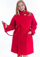 Женское зимнее пальто свободного кроя из мягкого кашемира (Размеры: 48, 52, 54)
