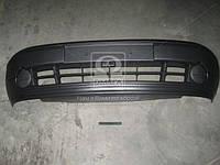 Бампер передний +накл. +спойл. +/- отв. п/тум. цельнолитой черн. Renault Kangoo 03-09