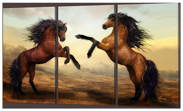 Модульная картина Лошадиный бой