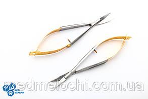 Ножниці по Castroviejo с жовтими рукоятками, вигнуті, 12см