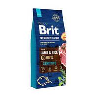 Корм Брит Премиум Brit Premium Sensitive для собак с чуствительным пищеварением ягненок рис 15 кг