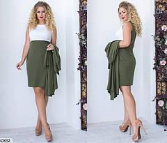 Женский комплект платье с кардиганом цвета хаки размеры:42-56, фото 2