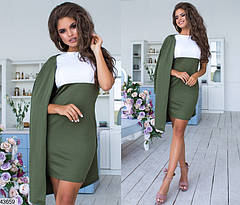 Женский комплект платье с кардиганом цвета хаки размеры:42-56, фото 3