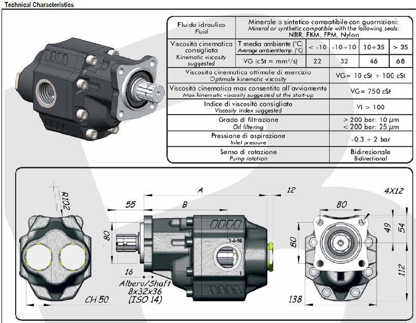 Насос шестеренчатый ISO (112 куб см) LTMH-112 Binotto Италия 105-033-11121