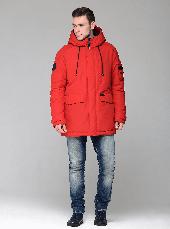 Теплая мужская зимняя куртка CW18-17MD041DN на натуральном пухе - красная, фото 2