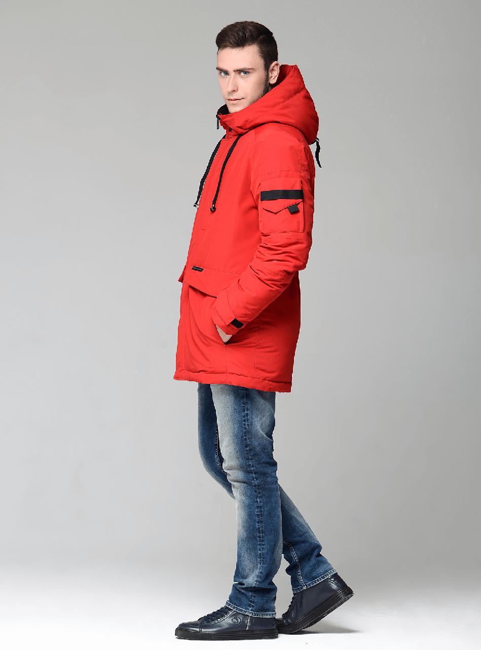 Мужской зимний пуховик CW18-17MD041DN Clasna на натуральном пуху - красный (#102)