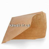 Саше пакет-уголок для фастфуда из крафт бумаги 90х210 мм (бургеров, еды, кондитерских изделий)