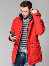 Теплая мужская зимняя куртка CW18-17MD041DN на натуральном пухе - красная, фото 3