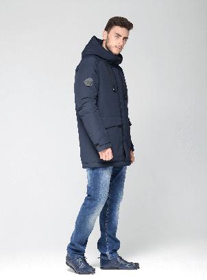 Теплая мужская зимняя куртка CW18-17MD041DN на натуральном пухе синяя, фото 2