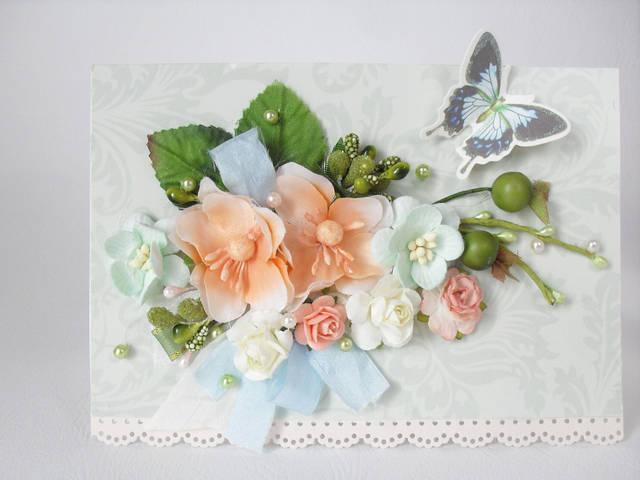 Примеры использования материалов для творчества представленных в нашем магазине - открытка.